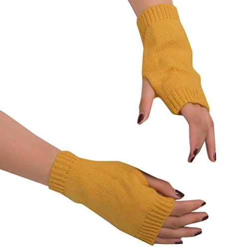 Fheaven Women Girl Knitted Arm Fingerless Warm Winter Gloves Soft Warm Mitten Solid Color Mitten Gloves (Yellow)