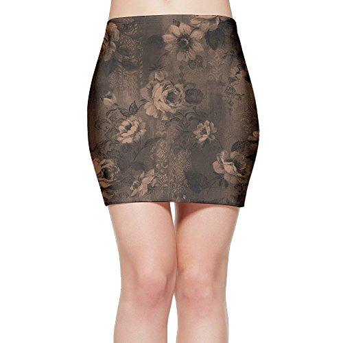For Fun Women Black Rose Flora 3D Print Stretchy Mini Bodycon Slim Fit Skirt Medium (Print Skirt Watercolor Rose)