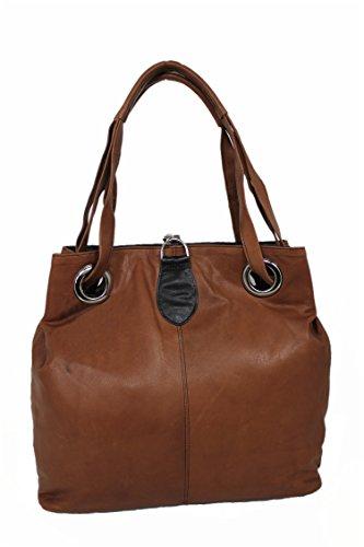 Leatherworld Italy, Sac à bandoulière pour femmes Mittel Brown