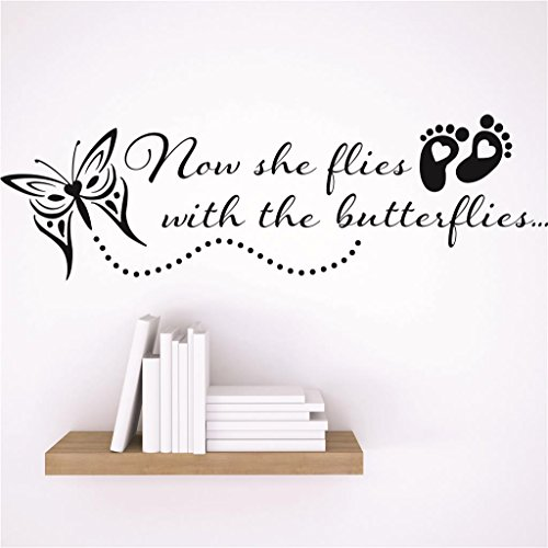 Design with Vinyl RAD 6 2 Decor Wall Decal Sticker : Now She Flies With The Butterflies. Footprint Butterfly Design Memorial Remembrance Memory Quote, 6 x 30