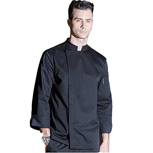 Long Sleeve Chef Coat With Concealed Snap Front Placket , Black, Us Size Medium