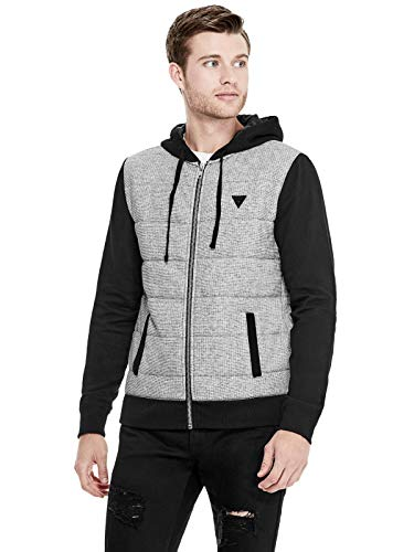 GUESS Factory Men's Luther Quilted-Panel Hoodie Jet Black