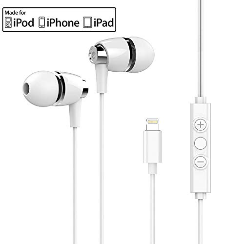eeco Hi-Fi Lightning Earbuds MFi Certified Metallic ABS Build iOS App, in-Ear Noise-Isolating Lightning Headphones Remote Mic iPhone X, iPhone 8/7/6s/Plus, iPad Pro More