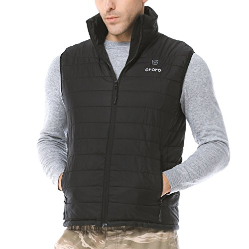 ORORO Men's Lightweight Heated Vest with Battery Pack(Large)