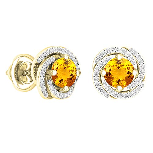 - Dazzlingrock Collection 18K 6 MM Each Round Citrine & White Diamond Ladies Halo Style Stud Earrings, Yellow Gold