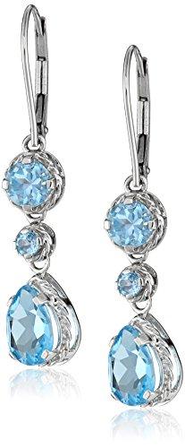- 14K White Gold Swiss Blue Topaz Dangle Earrings