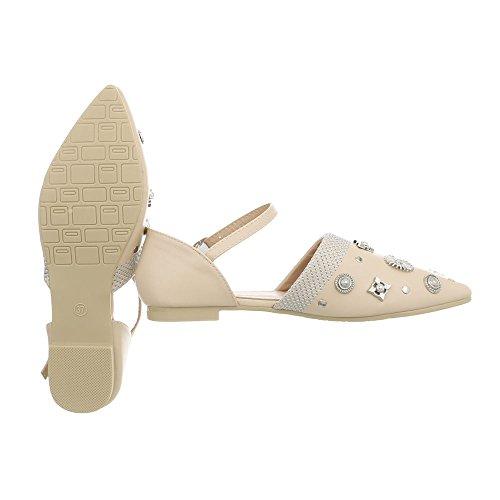 Tacco Ital da Beige Blocco Donna a Scarpe 38 127 Classiche Ballerine Ballerine Design qTTFrxX