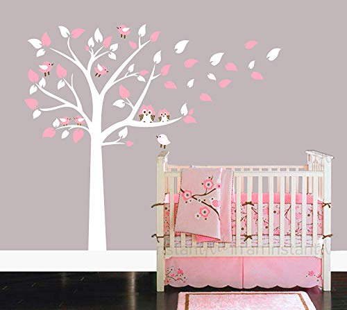 AliQing Nursery Wall Decals White Tree Wall Decals Owls Birds Wall Stickers Vinyl Mural Art for Baby Nursery Kids Room Decoration ()