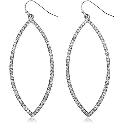 Humble Chic Hoop Dangle Earrings - Simulated Diamond Marquise Teardrop Statement Rhinestone Drops, Silver-Tone Pave Marquise