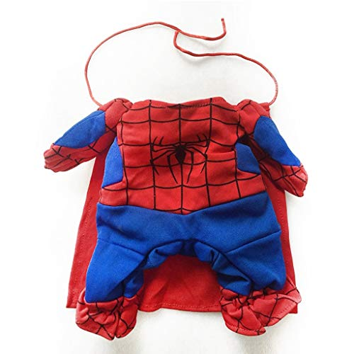 LZRZBH Spiderman Dog Clothes Cat Costumes with Cloaks Pets Dress Up Tricky Spider Superman,Pet Dog Clothes Puppy Pet Jumpsuit Superman (Size : 29-35cm H32cm)]()