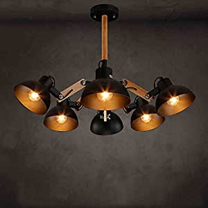 TOYM US Nordic modern bar restaurant bar net coffee shop clothing store lights telescopic solid wood Loft creative ceiling ( Color : 6 head )