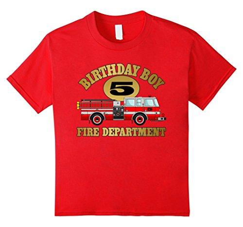 Price comparison product image Kids Kids Fire truck t-shirt for 5 year old birthday party 6 Red