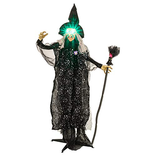 Halloween Haunters 6 Foot Animated Standing Scary Evil Speaking Wicked Witch with Light-Up Eyes and Fiery Broomstick Prop Decoration - Speaks, Cackles, Flashing LED Green Eyes and Red LED Broom