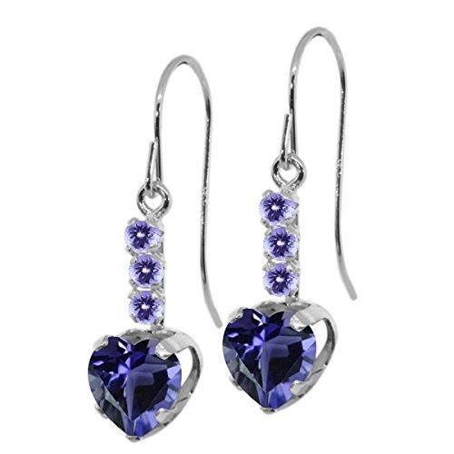 1.40 Ct Heart Shape Blue Iolite Blue Tanzanite 925 Sterling Silver Earrings