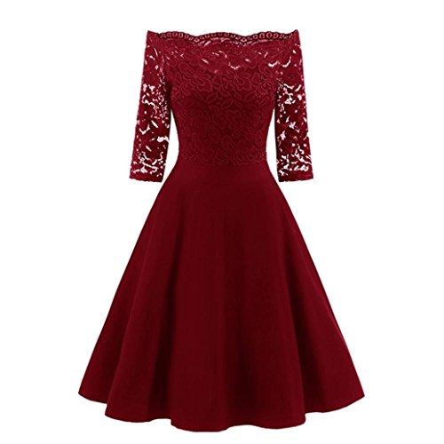 hombro manga mujer Rojo de Encaje roja fiesta negra para otoño del primavera Fuera grandes vestido moda larga armada noche de qxwBa