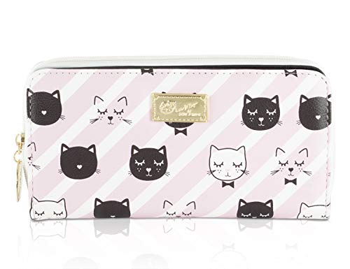 Pink Stripe Kitty Cat Face Print Long Wallet Betsey Johnson Lined Clutch