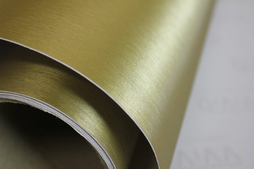VViViD Gold Brushed Anodized Aluminum 3 Inches x 4 Inches Sample Vinyl Wrap with Air Release Technology