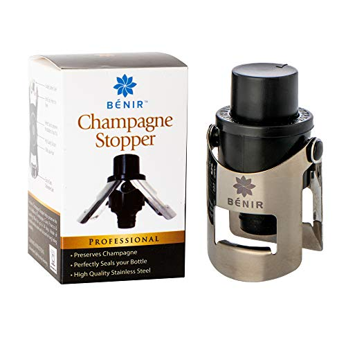 FIZZ KEEPER Champagne Stopper - Superior Leak-Proof Bubble Retaining Pressure Pump - Open Without Worry & Drink for Years w/Bottle Sealer Cork for Prosecco, Cava & Sparkling Wine - Stainless Steel