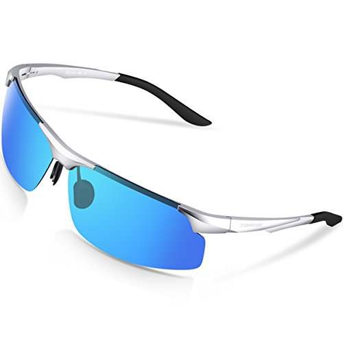 TOREGE Polarized Sports Sunglasses Men Women Cycling Running Fishing Golf TR90 Unbreakable Al-Mg Metal Frame M291 (Silver&Blue lens)