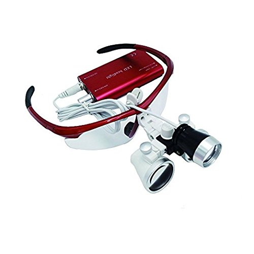 Dental Surgical Binocular Loupes Optical Glass Loupe 3.5X420mm with LED Head Light Lamp (Red) ship from us