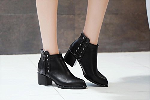 Artificial Del uk Puntiagudo Trabajo Remaches Pie 4 3 Heel 36 Invierno Fiesta 5 Negro Rough Dedo Pu Nvxie Mujers High Blanco De Eur37uk455 Otoño Botas Eur Cortas xqz7BPA0w
