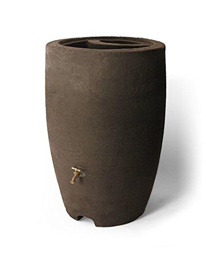 Algreen Products Athena Rain Barrel 50-Gallon, Brownstone (50 Plastic Gallon Barrels)