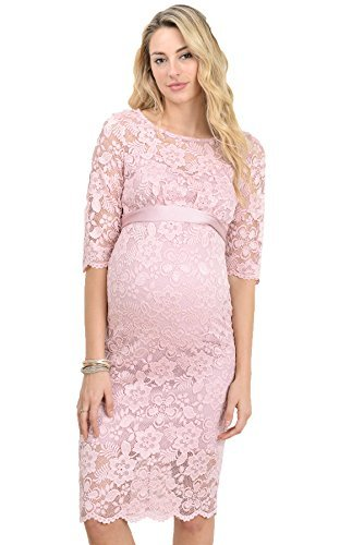 Hello Miz Womens Baby shower floral Lace Dress (Medium, Pink) (Maternity Pink Dress)
