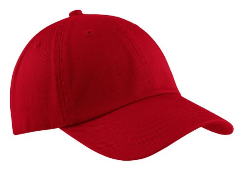 (Port & Company Men's Washed Twill Cap OSFA Red)