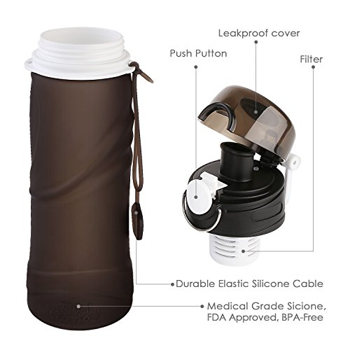 INTEY Collapsible Silicone Water Bottle Leak Proof Cap BPA Free, 25 Oz for Sports & Outdoors