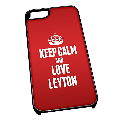Nero cover per iPhone 5/5S 0388 Red Keep Calm and Love Leyton