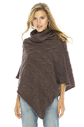 Cable Poncho Turtle Neck Brown