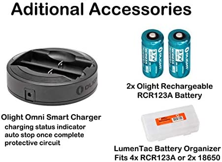 OLIGHT PL-2RL Baldr White LED Red Laser Handgun Weaponlight with 2X CR123 Batteries, 2X RCR123 Rechargeable Batteries, Omni-Dok II Charger, and LumenTac Battery Organizer