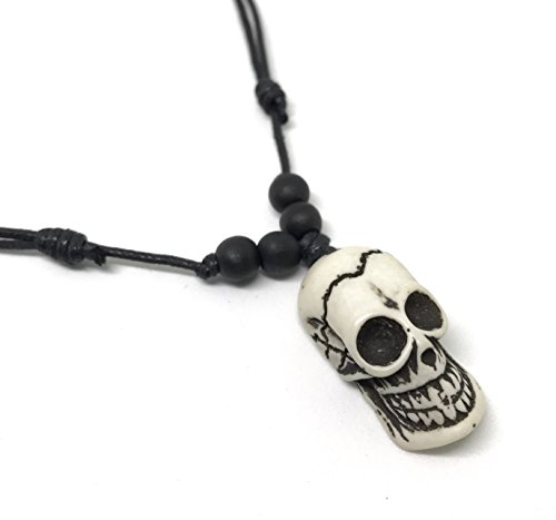 Diy Apple White Costume (Mens Fashion Skull Pendant Necklace Hawaiian Jewelry Wood Bead Adjustable Black Cord (White))