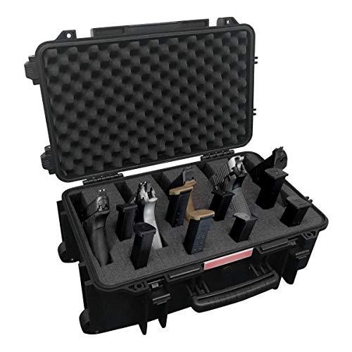 Merdia Happy Great Deal 20% Hard Pistol Cases Rolling Tactical Travel Case Pistol Access Case Secure Premium Hard Gun Cases with Precut Foam -
