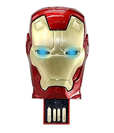 Iron Man Head 16  GB Pen Drive Metal Face with Glowing LED Eyes Pen Drives