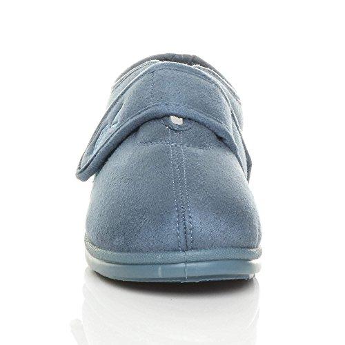 Ajvani Womens Ladies Flat Diabetic Orthopaedic Memory Foam Cosy Flower Strap Booties Slippers Size Blue 5p76ym