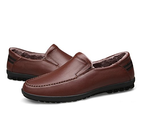 PU Hombre Cómodo Forrado Cuero YiJee Zapatos Calentar Mocasines Ocio Marrón1 Zapatos 0wpn1qgd