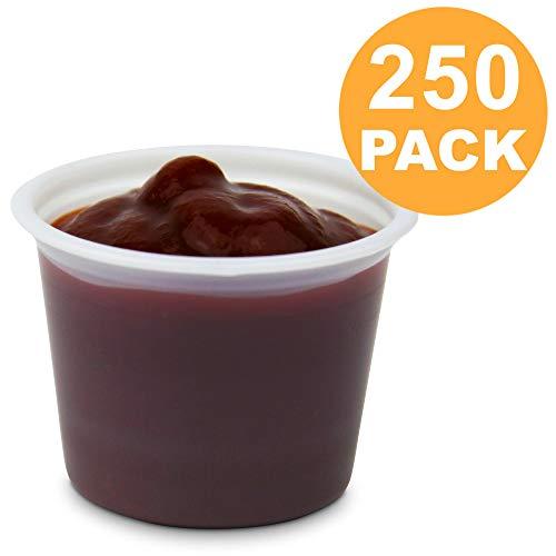 [250 Pack] 1 oz BPA Free Plastic Portion Cup - Disposable Jello Shots Sauce Condiment Souffle Dressing Mini Containers, Medicine Cups No Lids