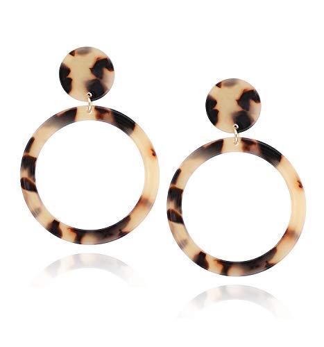 YAHPERN Acrylic Earrings for Women Girls Statement Geometric Earrings Resin Acetate Drop Dangle Earrings Mottled Hoop Earrings Fashion Jewelry (Leopard-Round Dangle)