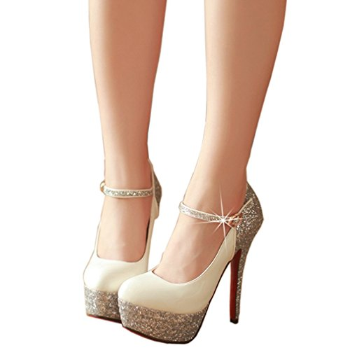 ENMAYER Damen Glitzer Lackleder Stiefeletten Stiefel Hohe Plattform Stiletto Heel Weiß