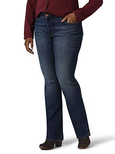 Riders by Lee Indigo Women's Plus Size Midrise Bootcut Jean, Iron Blue, 22W (Dark Denim Mid Rise Boot Cut Jeans)