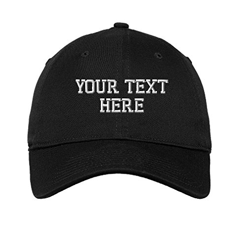 Personalize Your Custom Text On Unisex Adult Flat Solid Buckle Cotton 6 Panel Unstructured Baseball Hat Adjustable Cap - Black, One Size