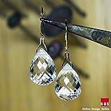 hongnguyen 18K Gold Crystal Quartz Earrings, 18K Quartz Earrings, 14K Quartz Earrings, Solid Gold Earrings, Broilette Earrings, Gold Leverback Earrings