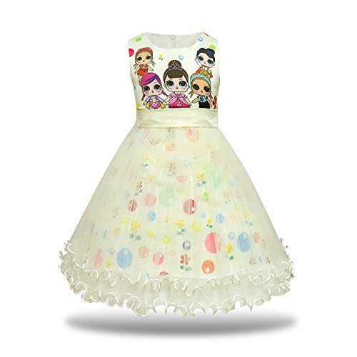 MagJazzy Girls Tutu Princess Dress Doll Digital Print Sleeveless Pageant Gown Dress for Doll Surprised (130cm/ 5-6Y, Light Yellow) -