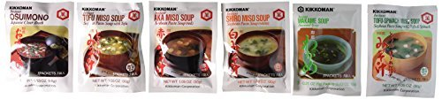 Kikkoman Instant Soup Value Pack - Miso-tofu Soup, Tofu- Spinach Soup, Shiro Miso Soup, Aka Miso Soup, Osuimino Japanese Clear Soup, Wakame Soup ( 6 Varieties ) by Kikkoman