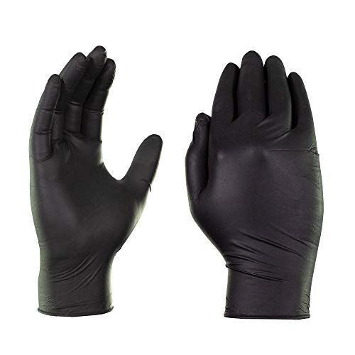 AMMEX Black Nitrile 4 Mil Disposable Gloves - Latex-Free, Exam, Powder-Free, Textured, Non-Sterile, Large, Case of 1000]()