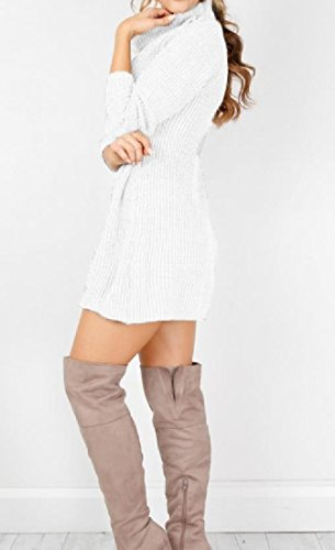 Col Roulé Sexy Chandails À Manches Longues Mini Robe De Blanc De Tricots Confortables Femmes