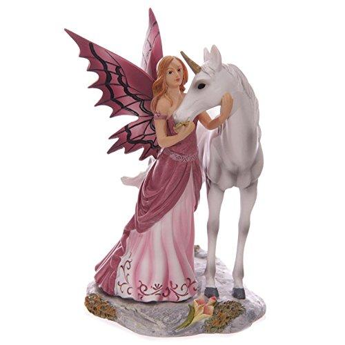 Puckator fyp99Legend of Avalon Lisa Parker Fata e unicorno mistico Rosa/Bianco/Grigio/Panna resina 14, 5x 11x 18cm