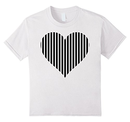 Kids Black And White Striped Heart Funky Tshirt Heart Lov...
