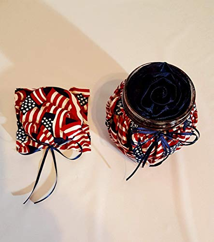 (Handmade Scented Navy Blue Satin Ribbon Rose Head in a Red White and Blue Patriotic Stars and Stripes US American Flag Print Themed Decorative Jar and Lid)